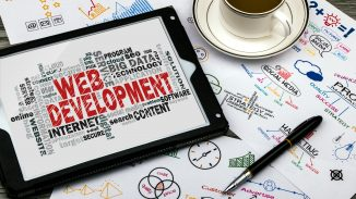Web development text on a tablet
