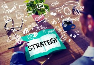 Businessman on the concept of online marketing