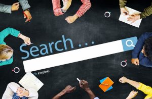 SEO concept, people working over a search bar