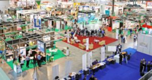 A blurred trade show area