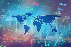 digital graph, world map and figures representing financial technology