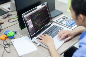 A website developer at work