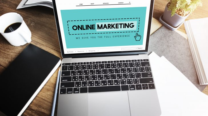 Laptop screen showing online marketing