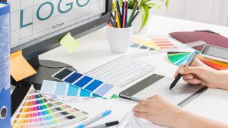 Designer creating a logo