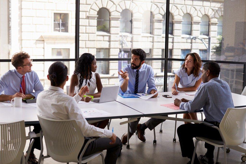 Corporate team strategizing