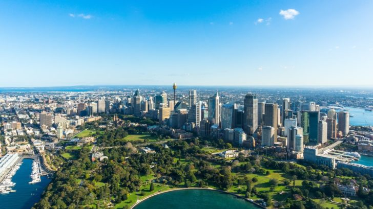 Aerial view Sydney Central Business Districs and Royal Botanic Gardens.