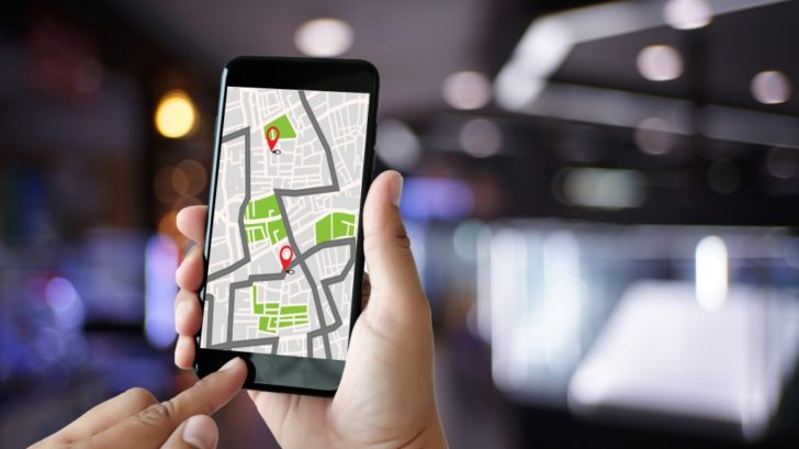 GPS app on a smartphone